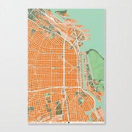 Buenos Aires city map orange Canvas Print
