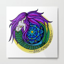 Born to Make Waves Mermaid Mandala by Nicole B Roberts Metal Print