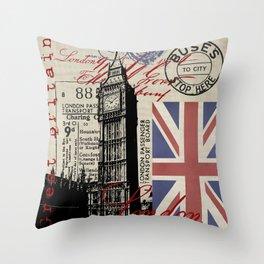 London Great Britain Big Ben Flag Collage Throw Pillow