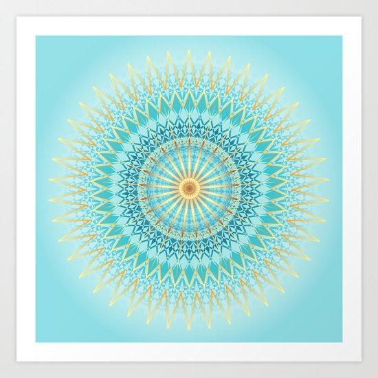 Turquoise Gold Boho Mandala Art Print