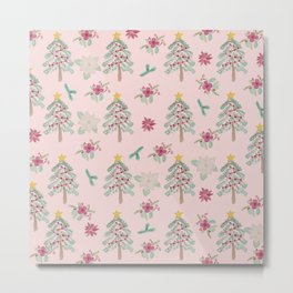 Christmas Pattern Pink Metal Print