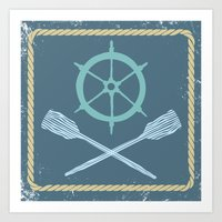 nautical Art Prints featuring Nautical! by Pizza Party