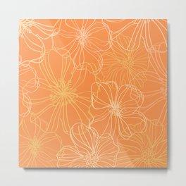 Flower Drawing, Warm Yellow, Gold Metal Print