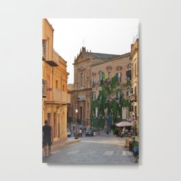 Evening view of Sicilian street in Agrigento Teatro Pirandello Metal Print