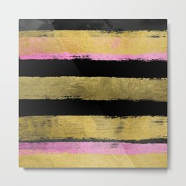 Black Gold Stripes Brushstroke Metal Print
