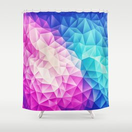 Pink - Ice Blue / Abstract Polygon Crystal Cubism Low Poly Triangle Design Shower Curtain