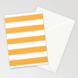Pastel orange - solid color - white stripes pattern Stationery Cards