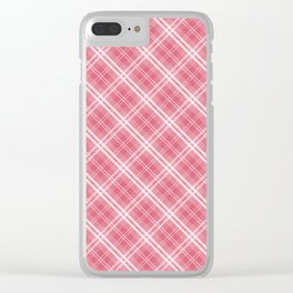 Nantucket Red and White Tartan Plaid Check Clear iPhone Case