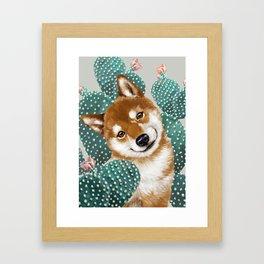 Shiba Inu and Cactus Framed Art Print