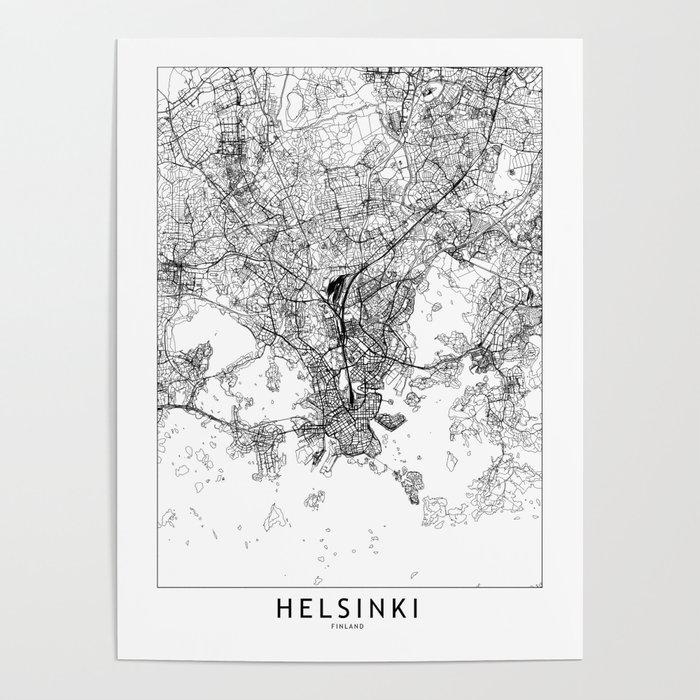 Helsinki White Map Poster