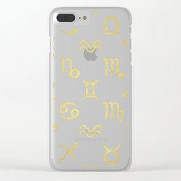 Twelve Zodiac Signs Horoscope Pattern Clear iPhone Case
