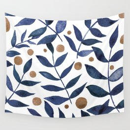 Watercolor berries and branches - indigo and beige Wall Tapestry
