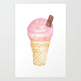 Watercolour Illustrated Ice Cream - Berries on Ice Art Print