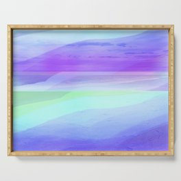 Seascape in Shades of Green Purple and Blue Serving Tray