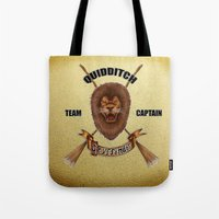 gryffindor Tote Bags featuring Gryffindor Quidditch Team Captain by JanaProject