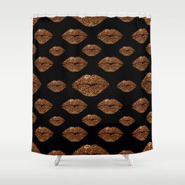 Rosegold Sparkle Kissing Lips Shower Curtain