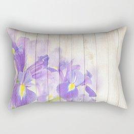 Romantic Vintage Shabby Chic Floral Wood Purple Rectangular Pillow