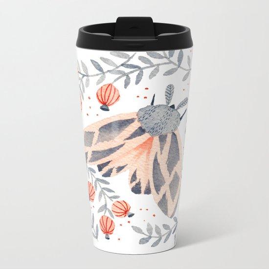 Pink Moth Metal Travel Mug