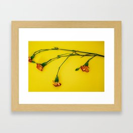 Flowers on Yellow Framed Art Print