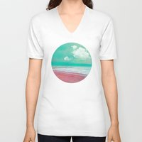 silent V-neck T-shirts featuring SILENT BEACH by INA FineArt