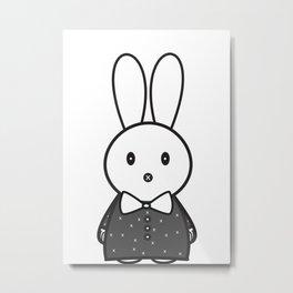 Za Rabbit Dressed to Impressed Metal Print