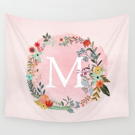 Flower Wreath with Personalized Monogram Initial Letter M on Pink Watercolor Paper Texture Artwork Wall Tapestry