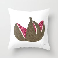pomegranate Throw Pillows featuring Pomegranate by Ryo Takemasa