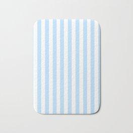 Classic Seersucker Stripes in Blue + White Bath Mat