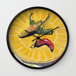 Chilis on a Plate in Gouache Wall Clock