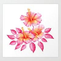 hibiscus Art Prints featuring Hibiscus by Sanjana Baijnath