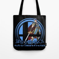 smash bros Tote Bags featuring Marth - Super Smash Bros. by Donkey Inferno
