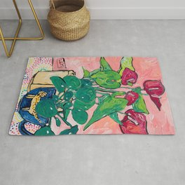 Houseplant Still Life Painting with Cheetah, Pilea, and Anthurium  Rug