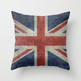 UK Flag, Dark grunge 1:2 scale Throw Pillow