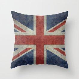 UK Flag, Dark grunge 1:2 scale Throw Pillow