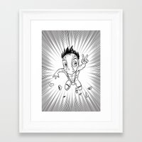 hentai Framed Art Prints featuring KWeb #6 : Hentai Kamen (black & white) by Adrien ADN Noterdaem