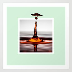 Droplet explosion with 3D pop out of frame effect Art Print
