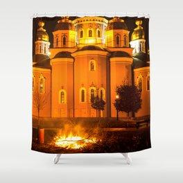 glowing church Shower Curtain