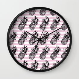 Pink Striped Pineapple Pattern Wall Clock