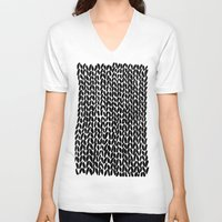 lawyer V-neck T-shirts featuring Hand Knitted Black S by Project M