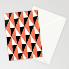 Salmon & black triangle mid-century pattern Stationery Cards