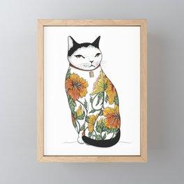 Cat in Tiger Flower Tattoo Framed Mini Art Print