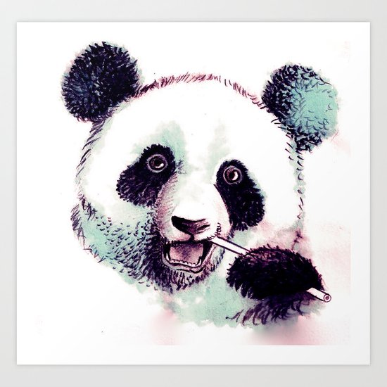 Panda Eating Art Print