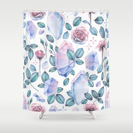 Watercolor crystal and rose leaves Shower Curtain
