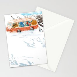 Watercolor Illustration of raccoon owl bat and bear taking a bus among snowy mountains Stationery Cards