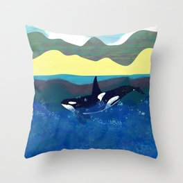 Orca in shiny ocean Throw Pillow