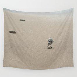 Sandpiper bird on wet sand Wall Tapestry