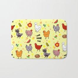 Cute seamless chickens pattern cartoon Bath Mat