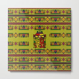 Colorful Aztec Inca Mayan Mask Metal Print