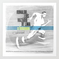 ronaldo Art Prints featuring LPFC: Ronaldo by James Campbell Taylor