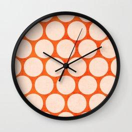 orange and white polka dots Wall Clock